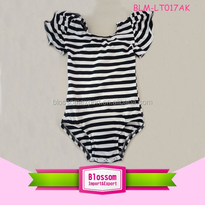 2016 Dance wear leotards image baby clothes cheap girls/toddler leotard flutter sleeves wholesale stripe leotard manufacturer