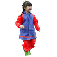 Fashion New Style Kids EVA Rain Suits Red and Blue Plastic Raincoat