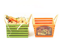 New design orange and green harvest storage welcome pumpkin gift wooden crate