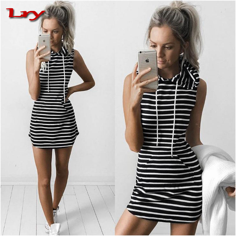 Women Girls Stripe Pullover Hoodies Extended Hooded Sweatshirt Dress with Pocket