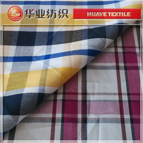 40s cotton red yellow blue colour plaid poplin fabric for cloth