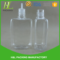 cheap square clear bouteille 30 ml design plastic bottle long thin tip pet bouteille 30 ml design bottle with hign quality