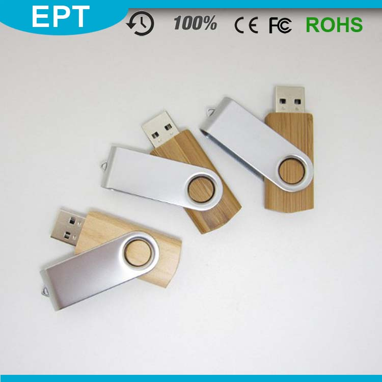 Wooden Stick Shape Swivel Metal Clip USB Flash Drive for Business