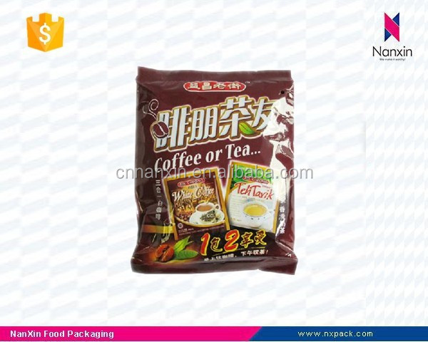 plastic coffee and tea packaging back seal bag