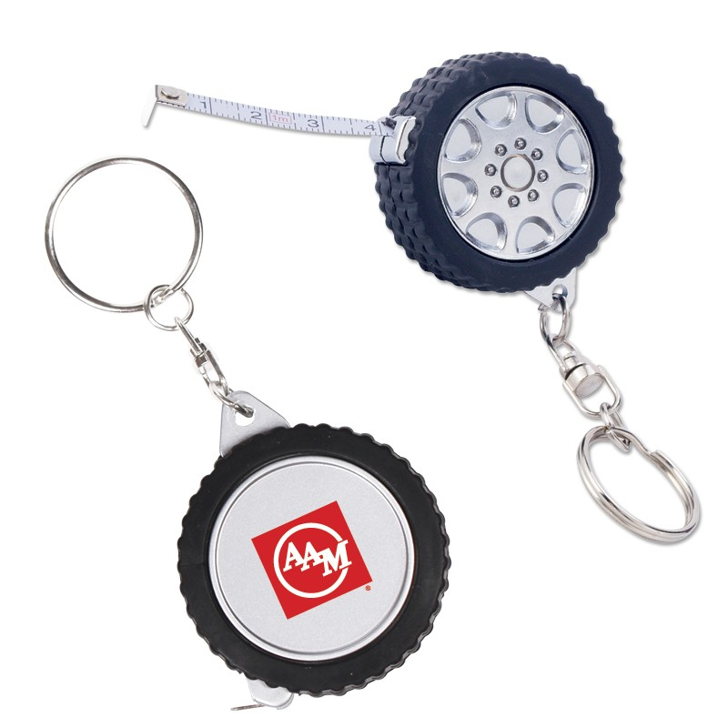 100cm/39inch promotional black tire measuring tools cute steel keychains china items with Your Logo