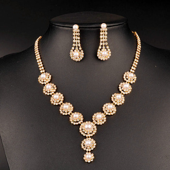 New wholesale dubai gold luxury bridal rhinestone pearl jewelry set