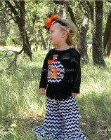 New arrive girl gender boutique hot sale facotry wholesale 2015 halloween chevron outfit