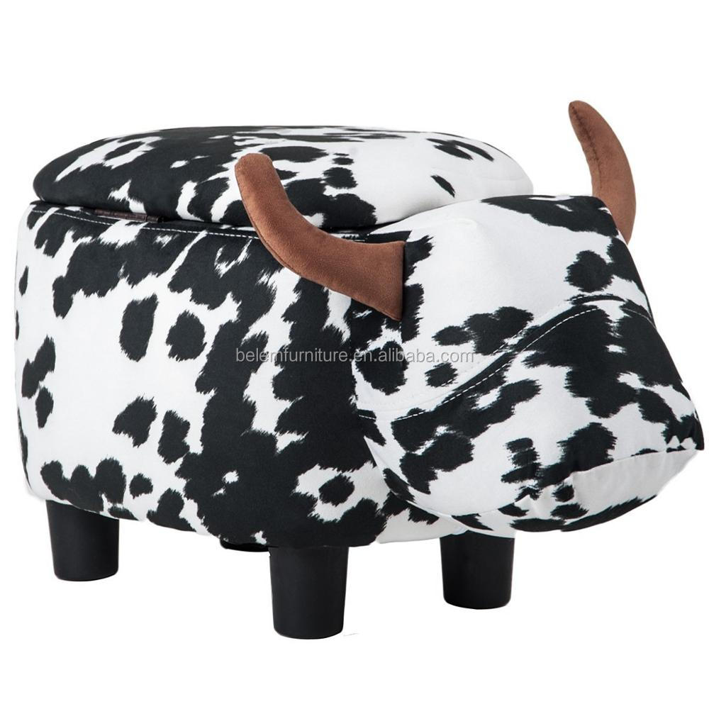 Upholstered Ride-on Storage Ottoman Footrest Stool with Vivid Adorable Animal-Like Features (Black and White Cow)