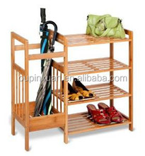 Bamboo Entryway Organizer 4 tier bamboo shoe storage rack with umbrella holder