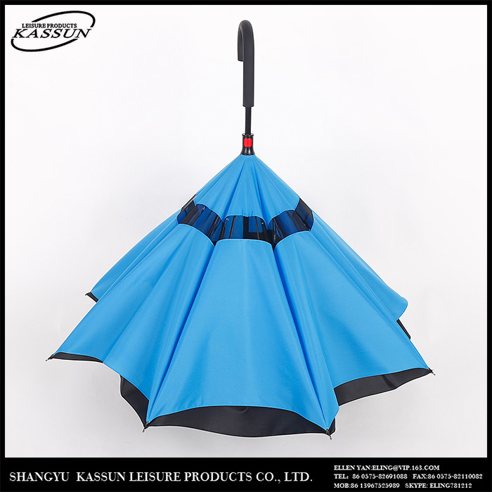 Logo printed durable promotional blue sky reverse umbrella