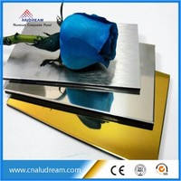 Building materials decoration Silver and Gold Composite Panel polished Mirror Aluminum aluminum composite
