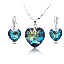925 sterling silver jewelry set made with Crystal from Swarovski necklace and earrings