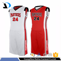 Guangzhou Daijun OEM usa basketball jersey design cool basketball uniforms red and white basketball jerseys