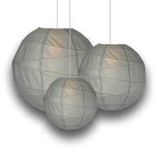 Round Hanging Crisscross Ribbing Rice Paper Lanterns
