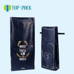 reusable matt black stand up coffee packaging bag with one way valve zipper