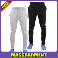 Mens Skinny Biker Style Jogging Bottoms Cuff Rib Sports Joggers Pants