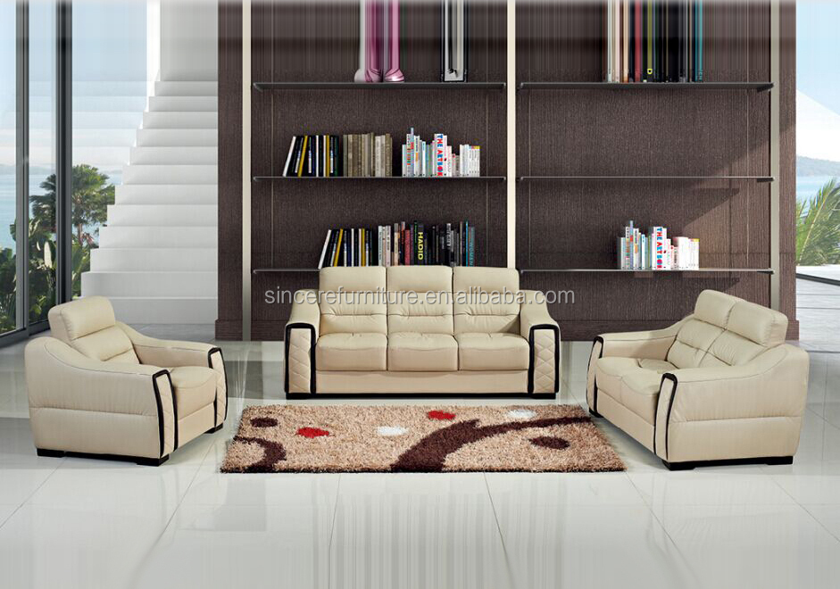 Modern living room sofa beige color leather sofa oriental style