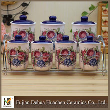 2015 new arrival raspberry decor ceramic canister set