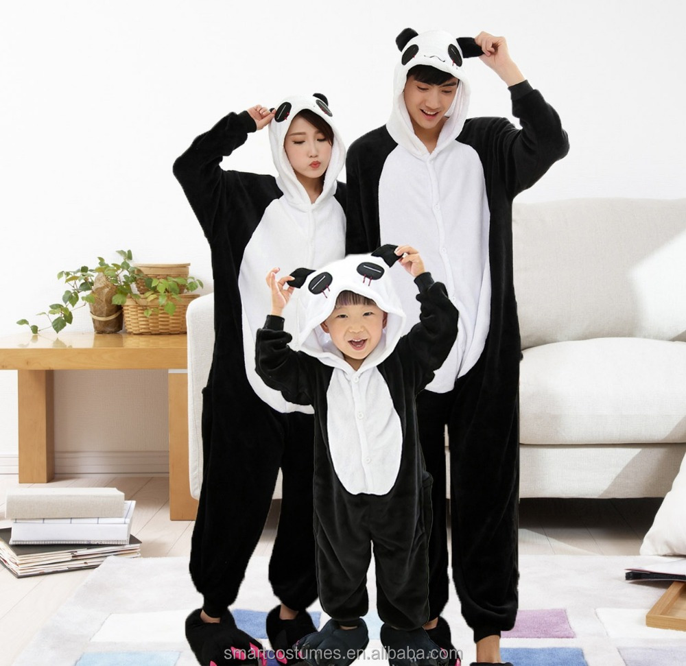 kids adult size available panda animal pajamas wholesale panda onesie