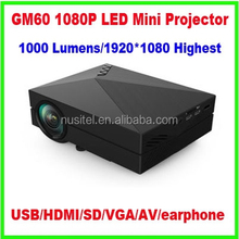 2015 GM60 video projector 1080P led mini Projector 1000 lumens with AV USB VGA SD HDMI for home usage