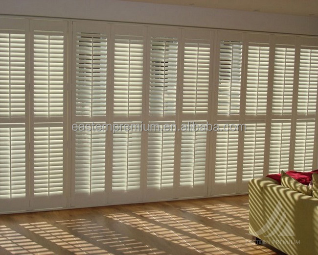 window 89mm louver wooden plantation shutter shades from china