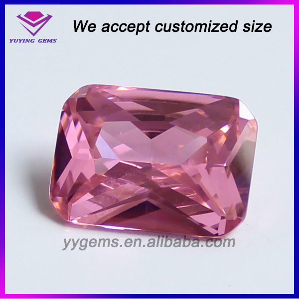 Wuzhou Octagon Shape Princess Cut Synthetic Pink Sapphire Stones