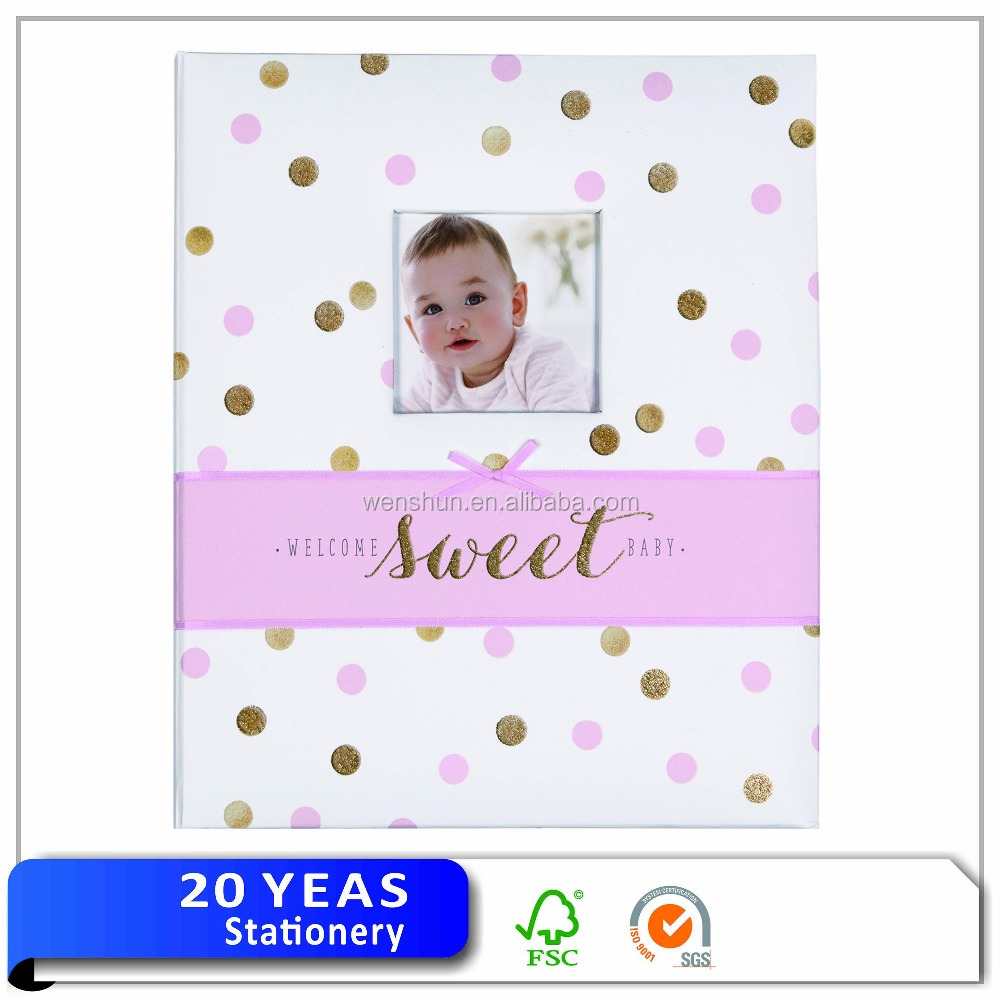 Popular gold foil children photo album/baby memory book