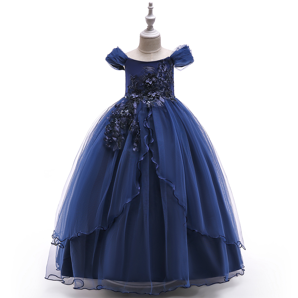 Wholesale Long Party Gowns Floral princess Flower Girl Tulle Birthday Dress 2-12 years LP-213