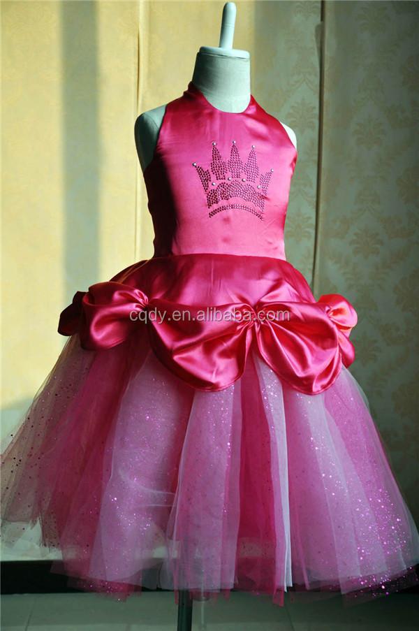 2015 wholesale hot pink princess girl party dress princess flower ...