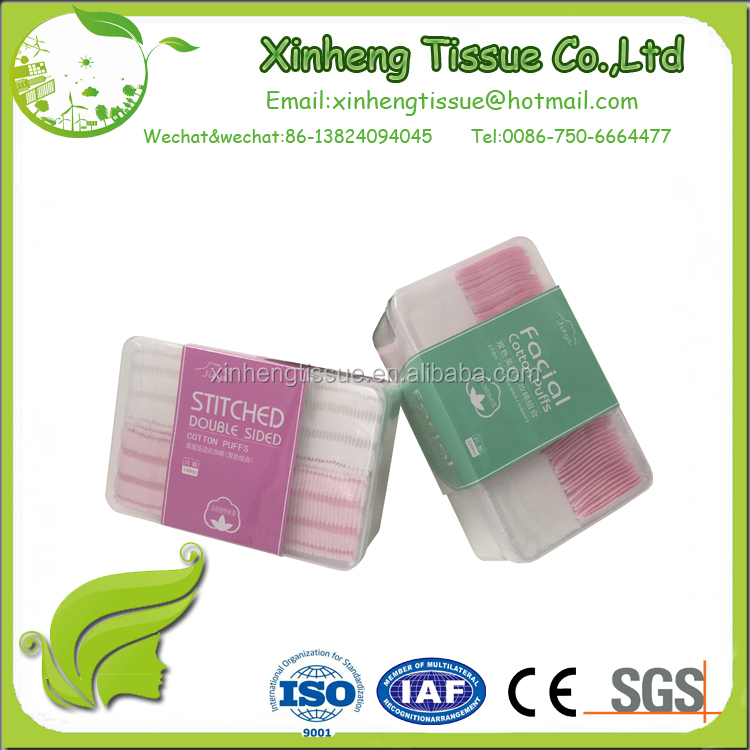 cosmetic high Quality cotton pads 2 color double sided Cotton puff