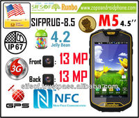 SIFPRUG-8.5 Runbo M5 SmartPhone Rugged IP67 NFC MTK6589 Quad Core Android 4.2 OS cell phone 4.5 Inch Screen 13 MP Camera