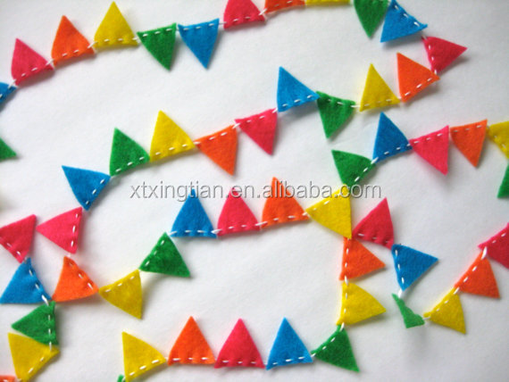 Brightly Colored Mini Bunting Felt Garland in pink, orange, yellow, green, blue - 8 ft long, perfect for birthdays and parties