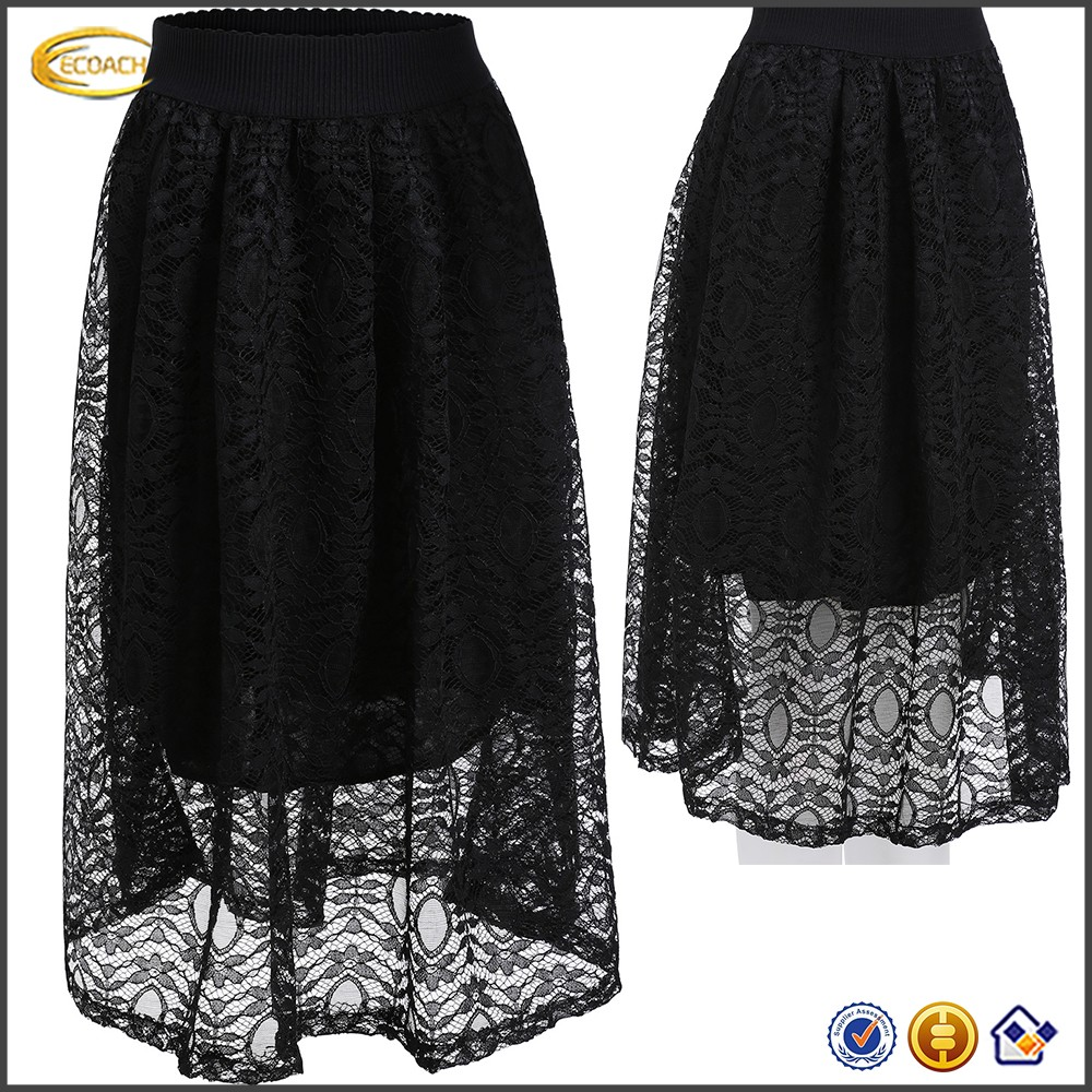 Ecoach OEM China Supplier 2016 High Quality Women Fashion Design High Waist Double Layered Black Lace Maxi Skirt Wholesale