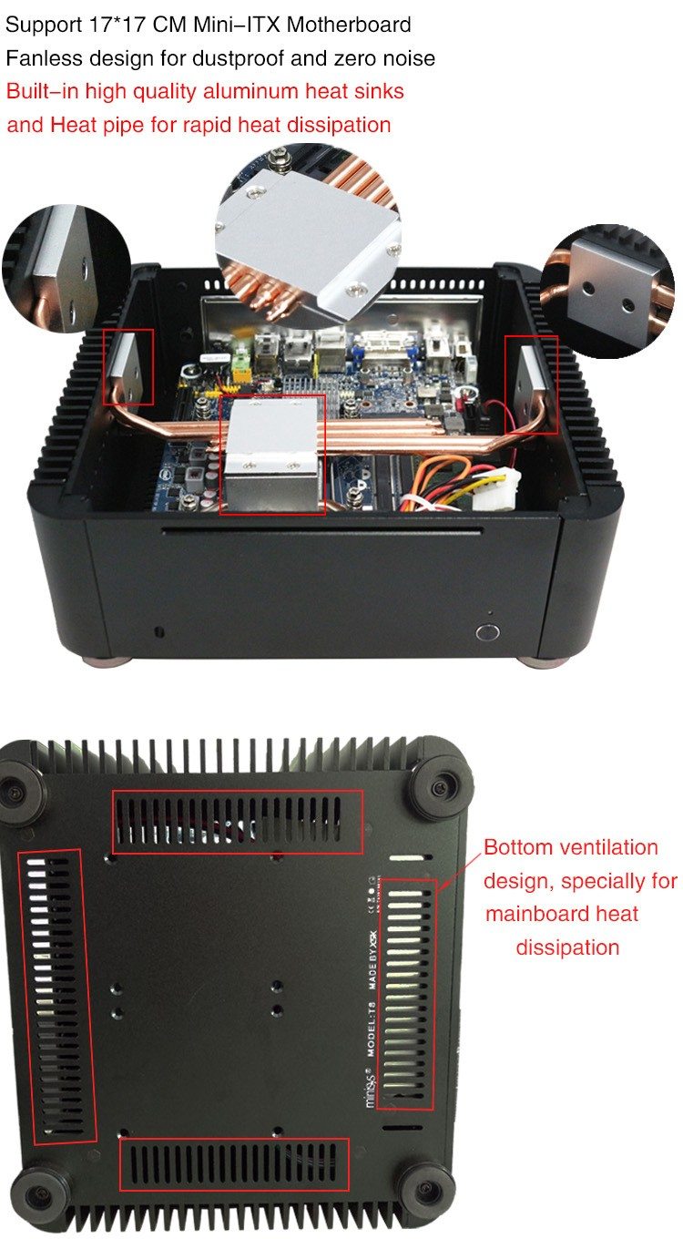 Micro computer casing MPC-T8 fanless mini itx case for HTPC