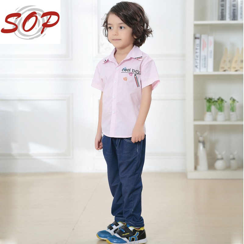 Children boutique fashion summer boy shirts cool boys short sleeve tops blank shirts