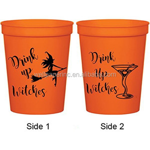 Halloween Orange Paper Stadium Cups - Drink Up Witches Martini