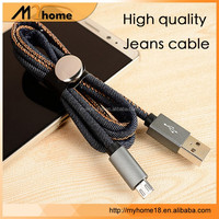 high quality leather jean denim micro usb data cable for samsung charging cable