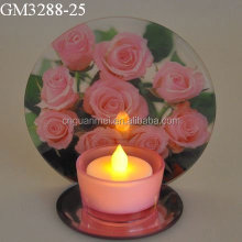 candelabra centerpiece with flower bowl pink rose printed reflective tea light wedding candle holder