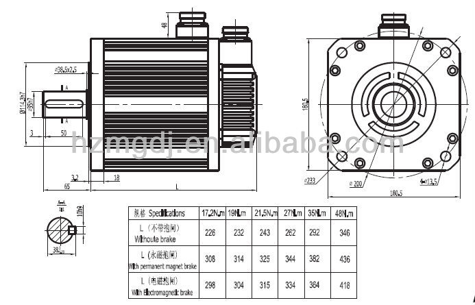 180mm 2.7kw CNC machine electric motor
