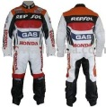 "New Stylish ""REPSOL GAS "" Brand Motorbike Leather Suit (2 Pcs) Jacket & Trouser Any Size"