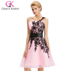 Grace Karin Sexy Party Formal Dress Short Organza Satin One Shoulder Light Pink Cocktail Dresses 2016 CL4288-3