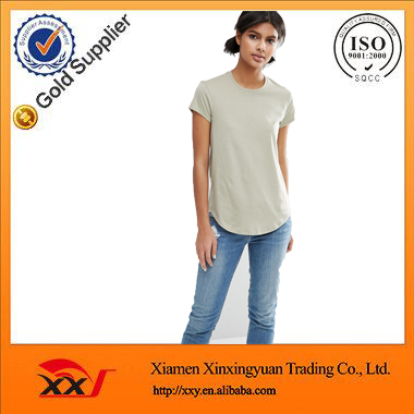 custom womens apparel bangkok 100% cotton curved hem plain no brand t-shirt with private label for woman