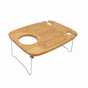 Portable and foldable Wine Snack Table Bamboo Picnic Table Mini Bar Table at home or outdoors