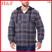 Last shirt design zip-up quilted flannel men's hood shirt
