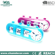 Plastic calendar retro auto oem flip analog table clock alarm clock with flip