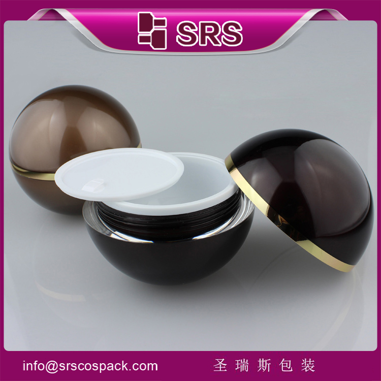 SRS free sample ball shape acrylic cosmetic jar 50 ml