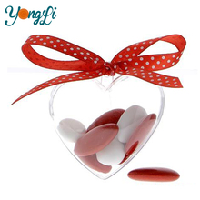 Acrylic Fillable Heart Shaped Plastic Wedding Box for Candy Gift
