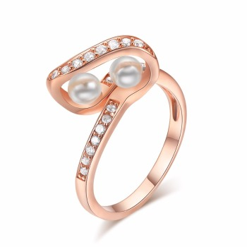 Simple Custom Design Cubic aaaaa Zirconia Pearl Finger Ring Mountings
