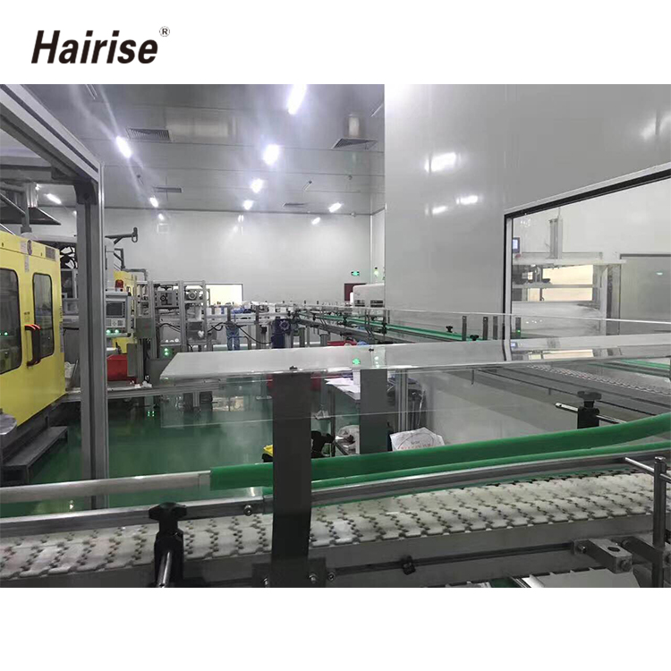 Transportation plastic chain conveyor system with side guide