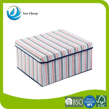 economical stripes hotel cardboard inside storage box nonwoven storage cube with lid